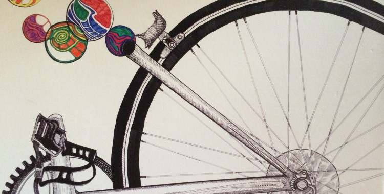 My artwork: bike, cat, and bubbles